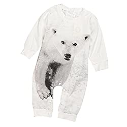 Baciby Lovely born Kids Baby Boy Girl Infant Bear Print Romper Jumpsuit Clothes by Baciby
