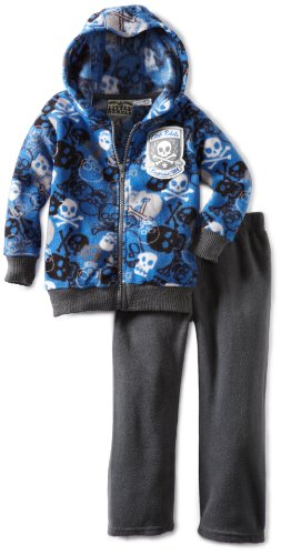 Little Rebels Boys 2-7 2 Piece Skulls Fleece Pant Set, Blue, 2T