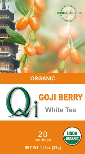 Qi Organic Goji Berry White Tea, 20-Tea Bags, 1.13-Ounce (Pack of 6)