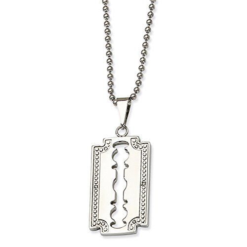 Stainless Steel , Diamond Razor Blade Necklace, 24 Inch, Jewelry Chains And Necklaces For Women