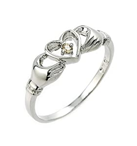925 Sterling Silver Solitaire Champagne Diamond Claddagh Ring (Size 4.5)