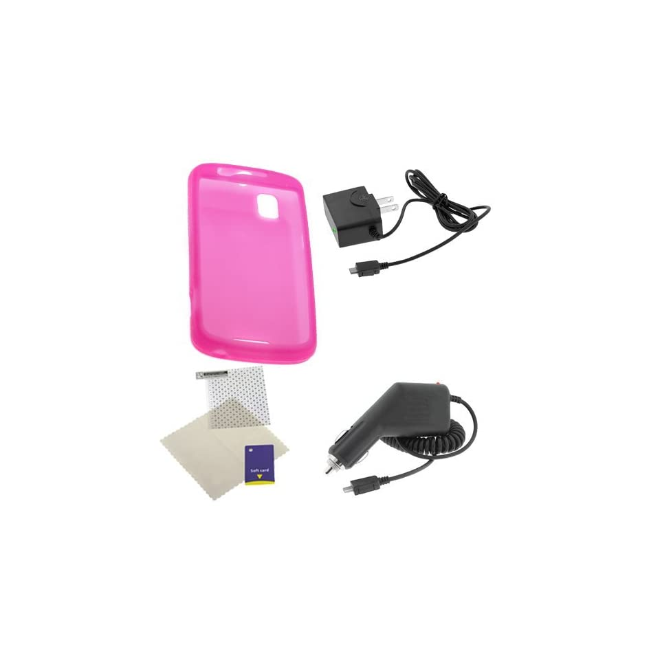 Rapid Car Charger + Home Travel Charger + Hot Pink Silicone Skin Soft Cover Case + Universal LCD Screen Protector for Verizon Motorola Droid Pro A957