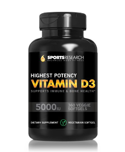 Vitamin D3 (Highest Potency) 5000Iu, 360 Veggie-Softgels; Vitamin D3 Supports Immune And Bone Health; Helps Maintain Strong Bones, Teeth And Overall Bone Structure; The Only Vitamin D3 Veggie-Softgel Capsule Available; Made In Usa; Money Back Guarantee.