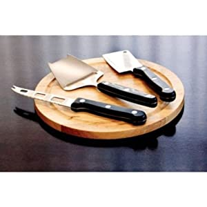 Gourmet 5 Piece Cheese Set with Cutting Board - Hard Cheese Knife, Shaver and Fork by Imperial Home
