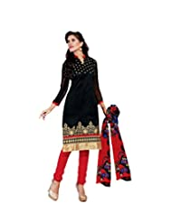 Women's Black & Red Embroidered Chanderi Semi Stitched Salwar Suit