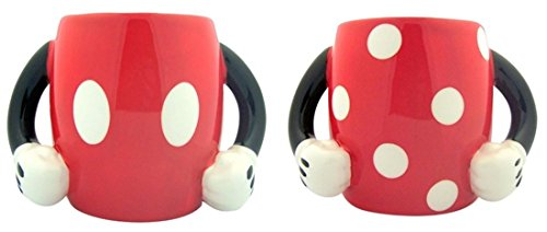 Set Of 2 Mickey And Minnie Mouse 10Oz Ceramic Coffee Mugs With Arm Handles