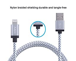 Adoric 3Pack 10FT/3M Extra Long Nylon Braided Lightning to USB Sync Charge Cable Cord Charger with Aluminum Connector for iPhone 7/7 Plus/6s/6s Plus/6/6Plus/5s/5c/5, iPad/iPod Models (White)