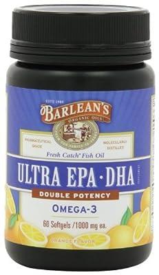 Barlean's Organic Oils Fresh Catch Fish Oil, ULTRA EPA-DHA, Orange Flavor 1000 mg, 60 Softgels (Pack of 3)