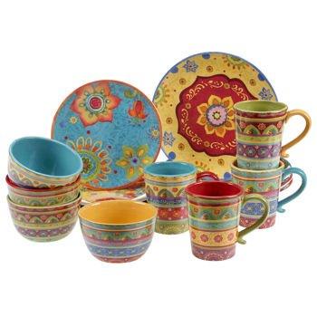 Vibrant, Beautiful, Colorful 100% Ceramic 16-pc Dinnerware Set