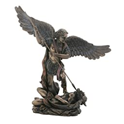 9 Inch Cold Cast Resin Bronze Saint Michael with Spear Statue Figurine by Summit