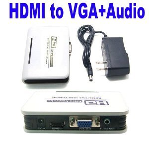 PC DVD HDMI to VGA & Audio For HDTV CRT Video Converter Box Adapter 1080P New