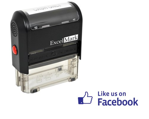ExcelMark Self Inking Like Us On Facebook Stamp – Blue Ink