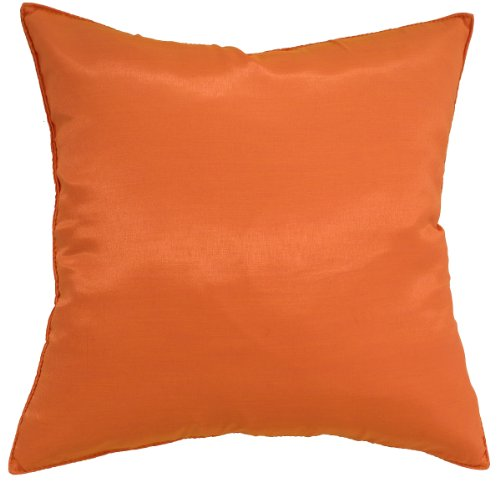 Avarada Solid Silk Decorative Throw Pillow Cover 16X16 Inch Orange front-157395