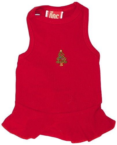 The Dog Squad Tiny Tree Dress Christmas T-Shirt For Pets, X-Small, Red