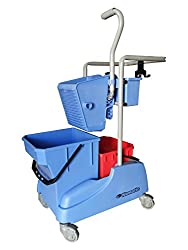 Double Bucket Mop Wringer Trolley with Caddy