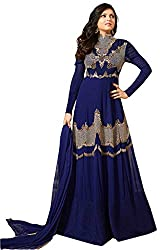 Clickedia Women & Girls Embroidered Full Length Gown Style Georgette salwaar suit dress with heavy golden work embroidery