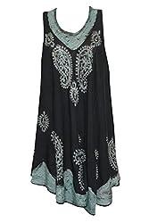 Indiatrendzs Women's Poncho Dress Paisley Design Black Midi Poncho Rayon Causal Wear