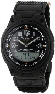 Casio Men's AW80V-1BV Black Nylon Quartz Watch with Black Dial from Casio