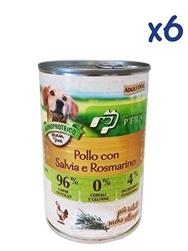 Professional Pets Monoproteico al pollo con salvia e rosmarino (6x400g) - Cibo umido ipoallergenico al pollo, per cani adulti