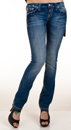 New Miss Me Womens Rhinestone Wingspan Straight Jeans (30)