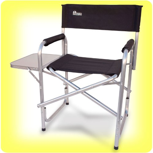 "Earth ""Extra Heavy Duty"" Folding Director's Chair w/ Side Table: Steel Reinforced Frame"