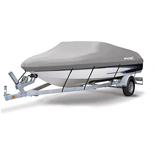 """MSC® Heavy Duty 300D Marine Grade Polyester Canvas Trailerable Waterproof Boat Cover, Gray,Fits V-Hull,Tri-Hull, Runabout Boat Cover (Gray, Model B - Length:14'-16' Beam width: up to 90"""")"""