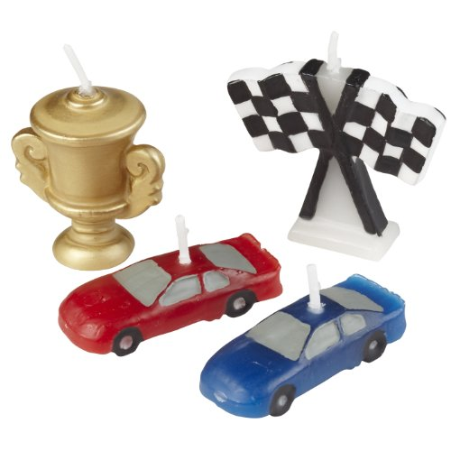 Wilton 2811-9135 4-Piece Race Car Molded Candles - 1