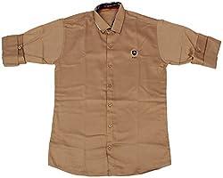 Accurate Boys' Cotton Shirt (SH 164, Brown, 14)