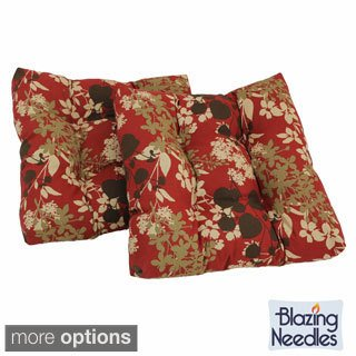 Blazing Needles 2 OUTDOOR UV / Weather Resistant Patterned SQUARE Shape 16 in Chair Cushions with Ties