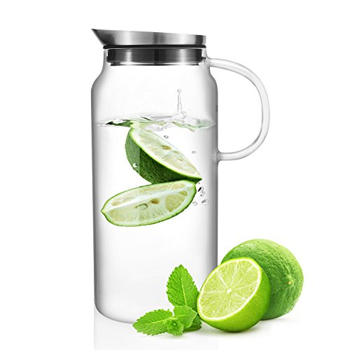 Samadoyo Glass Water Pitcher with Stainless Steel Lid and Built-In Fruit Strainer for Flavorful Infusions 1.3L (44 oz) (Glass Fruit Containers compare prices)