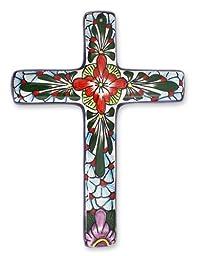 NOVICA Hand Painted Talavera Large Ceramic Wall Cross, Multicolor, \'Jerusalem Rose\'
