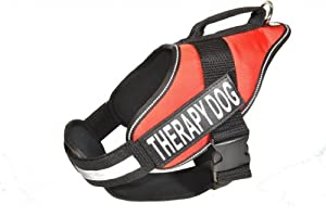 Dogline Alpha Nylon Service Dog Vest Harness with Removable Chestplate and Therapy Dog Velcro Patches, Medium, Chest Size 22 to 30-Inch, Red