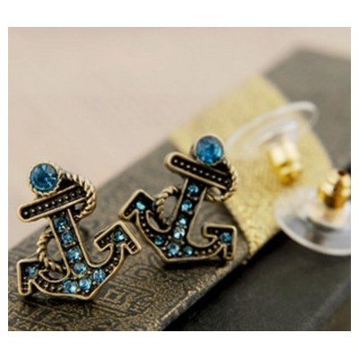 New Blue Cz Anchor Anchors Away Small Stud Earrings