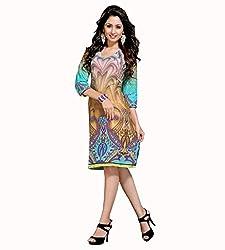 The Ethnic Chic Women's Sky Blue & Beige Color Cotton Kurti.