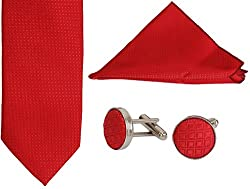 Clareo Men's Checkered Tie Set - Combo Pack of 3 (Red)