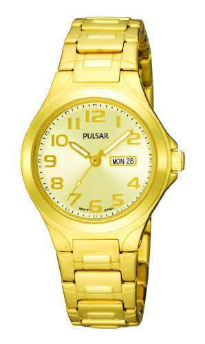 Pulsar PXU036 Women's Yellow Gold Plated Champagne Dial Watch