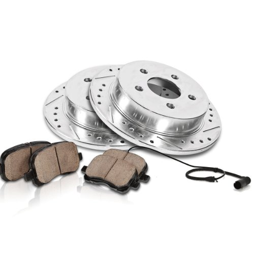 Callahan Rear Performance Drilled/Slotted [2] Rotors + [4] Quiet Low Dust Ceramic Brake Pads w/ Sensors Kit CK000823
