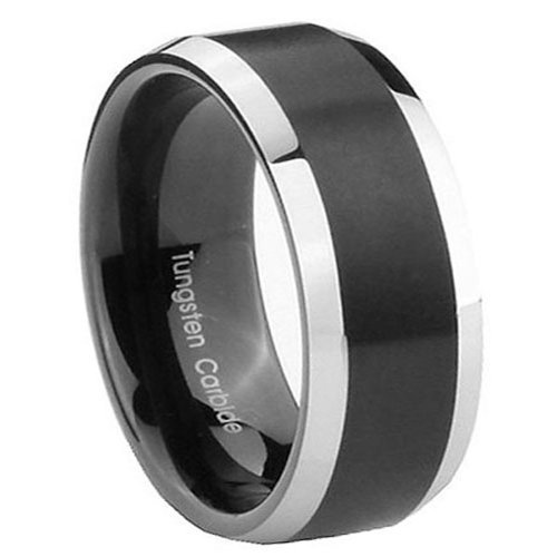 10Mm Tungsten Carbide Two Tone Black Ep Flat Top Men'S Ring Size 13