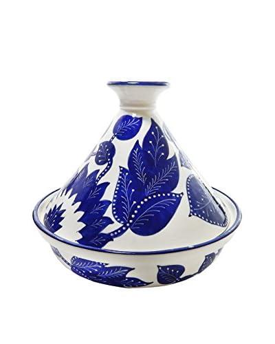 Le Souk Ceramique Jinane 12″ Tagine, Blue/White