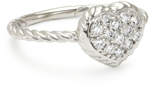 "Kc Designs ""Twist"" 14K White Gold And Diamond Heart Shape With Braided Detail Ring, Size 7"