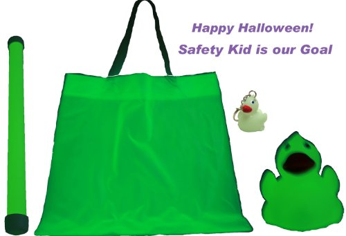 Halloween Glow In The Dark Deluxe Gift Set Of 4, Candy Bag, Baton, Rubber Duck, Mini Rubber Duck Key Chain, Waddlers Brand Halloween All Depts. Gift Set