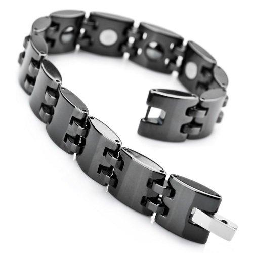 Justeel Jewellery Ceramic Bangle Bracelet Chain Men Black Link