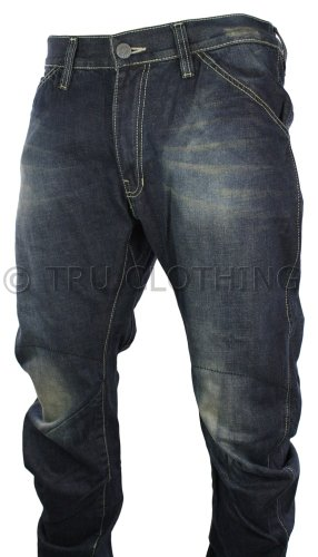 Mens Twisted Washed Blue Jeans Casual Low Crotch Rise