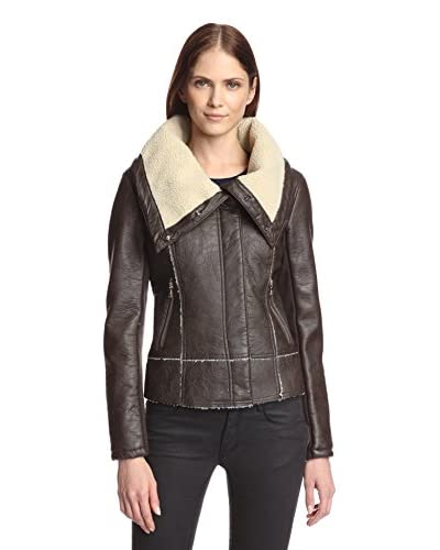 Sam Edelman Women's Amy Faux Leather Aviator Moto Jacket