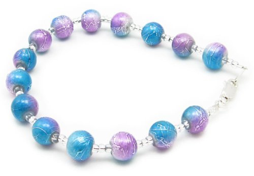 AM5882 – Unique Turquoise / Lilac two tone textured glass bead bracelet by Dragonheart – 20cm – 925 sterling silver