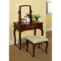 Enitial Lab Priscille 2-Piece Vanity and Stool Set Cherry