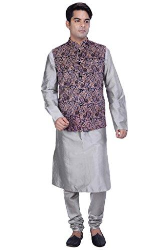 KISAH-Mens-Grey-Cotton-Silk-kurta-and-Churidar-with-Grey-Velvet-Nehru-Jacket