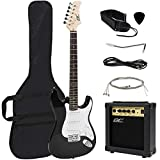 Best Choice Products 41in Full Size Beginner Electric Guitar Starter Kit w/Case, Strap, 10W Amp, Tremolo Bar - Black