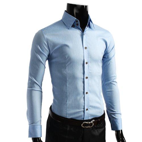 9XIS Mens Casual Unicolor long Sleeve Dress Shirt BLUE 2XL (R114D)