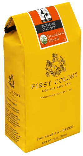 First Colony Organic Breakfast Blend Fair Trade Certified, Medium Roast Coffee, 12-Ounce Bags (Pack of 3)